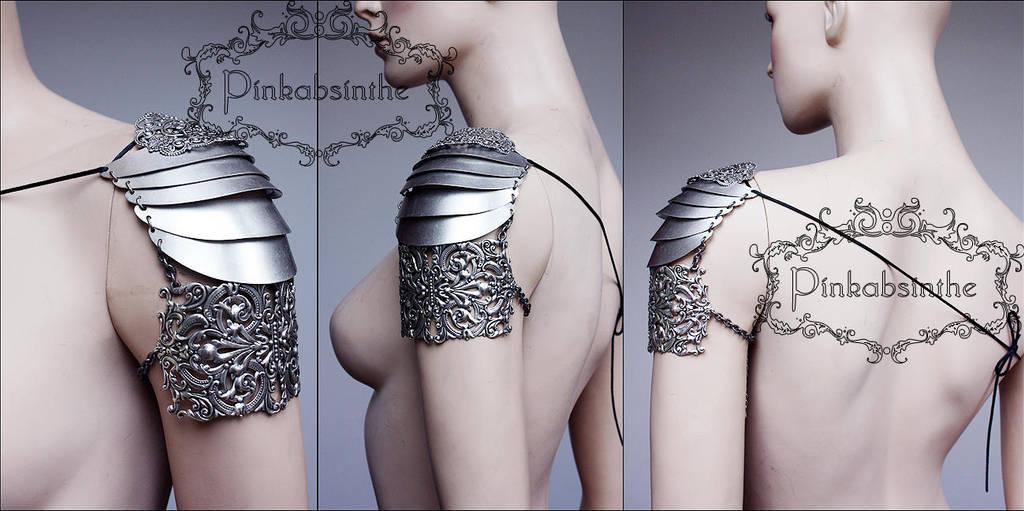 Elven warrior armor shoulder piece by Pinkabsinthe