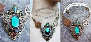 Emerald empress steampunk necklace by Pinkabsinthe