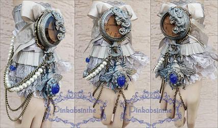 Sapphire bumblebee fairy locket watch cuff by Pinkabsinthe