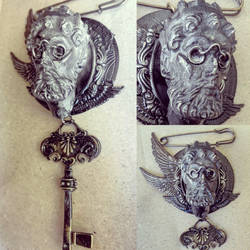 Steampunk brooch or pendant by Pinkabsinthe