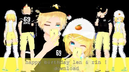 |DL| happy [late] birthday, kagamines! by esizu