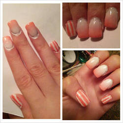 Pink and White Striped Nails by Kisskiss64