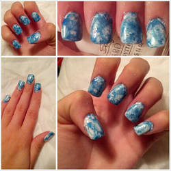 Tie-dye Blue and White Nails by Kisskiss64