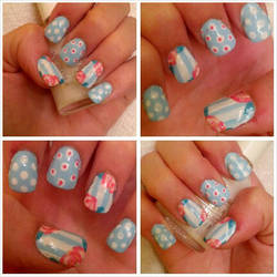 Blue, Pink, and White Rose Nails by Kisskiss64