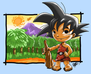 Son Goku as Cave Man by dchan316
