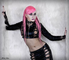 05 mira nox pink hair dreadlocks vinyl fetish sexy by MiraNox