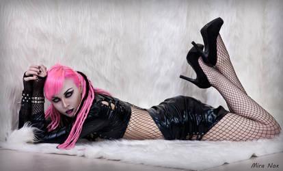 mira nox pink hair dreadlocks vinyl fetish sexy by MiraNox