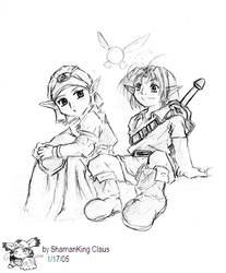 Zelda and Link Sketch by kunoichi069
