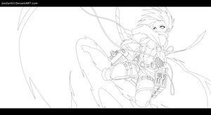 Mikasa Ackerman lineart. by JoeZart63
