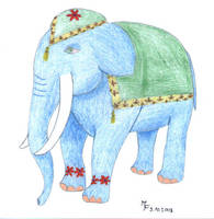 Elephant in blue by MichaFire