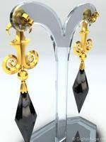 Black Moon Earring, Ohrstecker, Ohrring 3D by digitalAuge