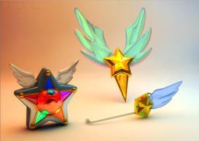 Sailor Starlights Yell, Headset, Brooch? 3D by digitalAuge