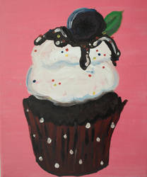 Blueberry Cupcake Painting on Canvas by Fawn0ftheForest