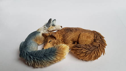 Wolf and Fox - Fimo Sculpture 3 by IdrilFox