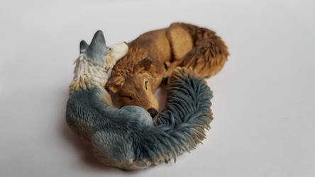 Wolf and Fox - Fimo Sculpture 2 by IdrilFox