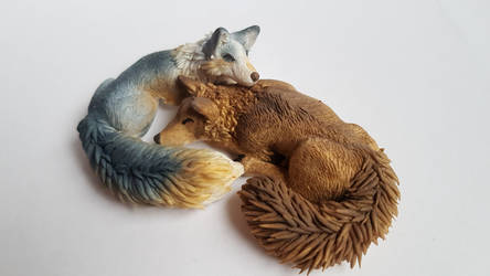 Wolf and Fox - Fimo Sculpture 1 by IdrilFox