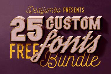 Dealjumbo Free Bundle vol.1: 25 Custom Fonts by hugoo13