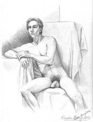 Figure Drawing - Undraped Male by KrisCynical