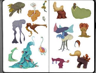 Sketchbook Monster Spread by chriskot