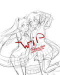 ~Sketch | Miku and Ene~[WIP] by Tomachi-chan