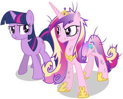 Sceptical Princess Cadance and Twilight Sparkle by 90Sigma