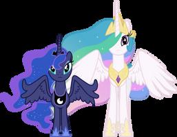 Concerned Princess Celestia and Princess Luna by 90Sigma