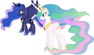 Princess Celestia and Princess Luna Conversing (1) by 90Sigma