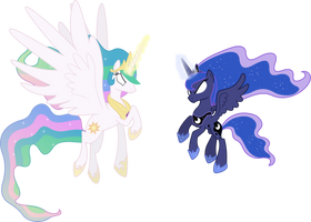 Celestia and Luna Attacking (Ponies) (Coloured) by 90Sigma
