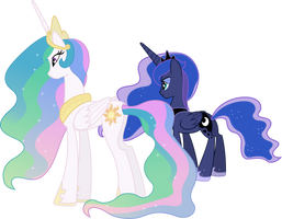 Princess Celestia and Princess Luna Overlooking by 90Sigma