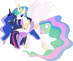Princesses Celestia, Luna and Twilight Hugging by 90Sigma