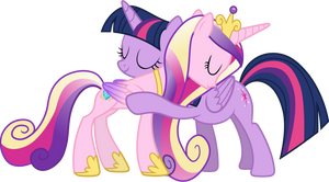 Princess Cadance and Twilight Sparkle Hugging (3) by 90Sigma