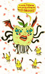 bat-winged apple fiend + co? by spaptastic