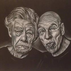 Portrait: Ian Mckellen and Patrick Stewart! by HeidiJS