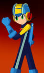 Rockman.EXE's pose (With Background) by MiniKirby100