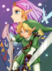 Link and Zelda by AravisDeistery