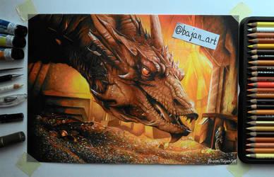 Smaug Hobbit drawing by Bajan-Art