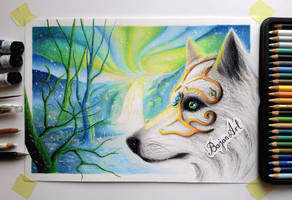 White wolf drawing by Bajan-Art