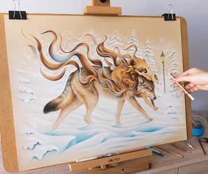 Wanderer fantasy wolf drawing by Bajan-Art