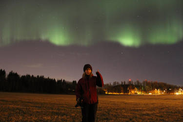 Northern lights and me by MeLoveSheep