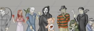 Horror Villain Police Lineup by Ulario
