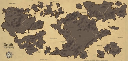 [Personal/Cartography] Selath Planetary Map by Ulario