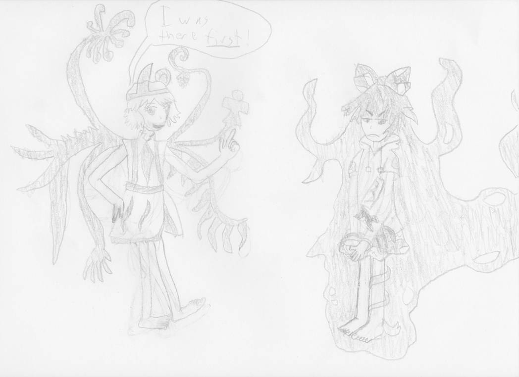 Shion and Shion (Uncolored Doodle) by Goomba98