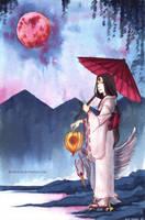 crane goddess under the moon by Keidensan