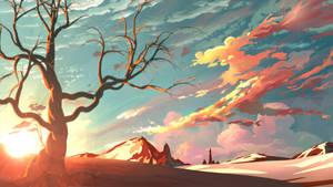 Red sky background by MasterTeacher