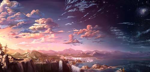 Waterfall sunset by MasterTeacher