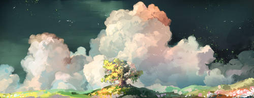 Clouds and tree by MasterTeacher