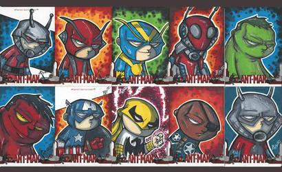 Ant-Man sketch cards by briandeguireart