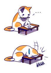 Sad Kitty Facedesk by nakanoart