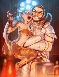 Skyrim: Farkas and Khajiit by nakanoart