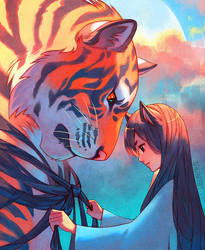 Tangled Tiger by nakanoart